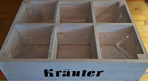 """Pflanzkasten\""""Kräuter\"""" Holz natur 40x30x10 cm - 6-fach unterteilt"""