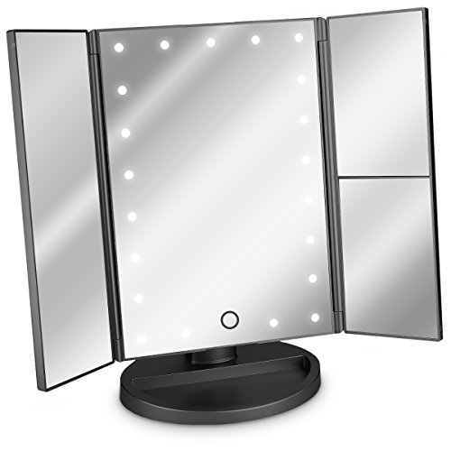 Navaris Specchio pieghevole per trucco a LED - specchio cosmetico ingranditore illuminato per make up con specchietti ingrandimento x2 x3 - nero