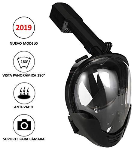 Máscara de Buceo o Snorkel con visión panorámica 180°, con Sistema antivaho y Soporte para cámara (S-M)