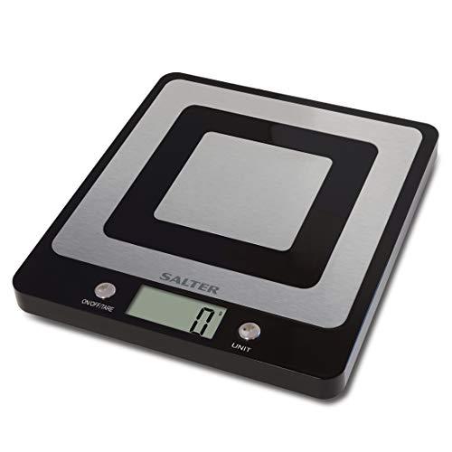 SALTER EVO Digitale Küchenwaage - Edelstahlwaage, LCD Display, Zuwiegefunktion, LCD Display, Metrisch oder imperiale Messung, Leicht zu reinigen, Schwarz