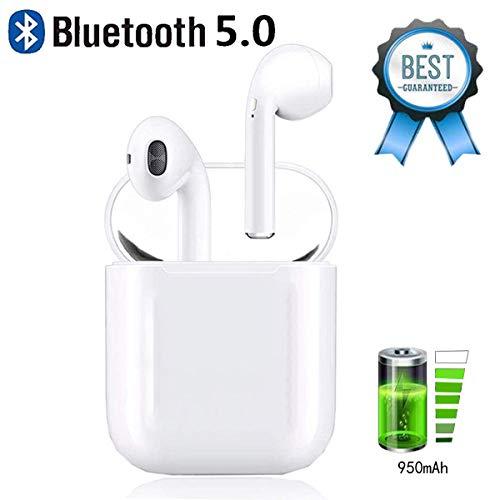 FIHU R Ecouteur Bluetooth,Ecouteur sans Fil Léger Stéréo 950mAh Boîte de Charge 50 Heure Play IPX5 Étanche Sport Casque Micro Intégré et Boîte de Charge pour Apple Airpods Android iphone
