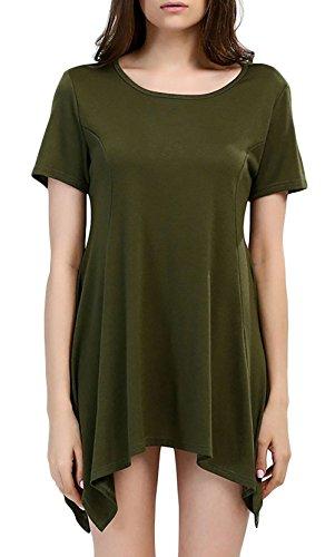 Sommerkleider Damen Kurzarm Elegant Vintage UniFarben Schick Taschentuch  Saum Kurz Kleider Freizeitkleid Armeegrün