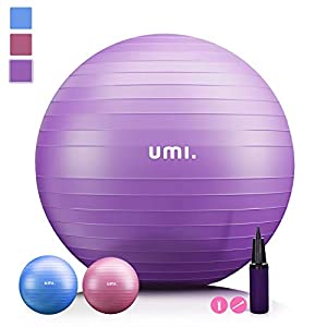 UMI. by Amazon - Exercise Fitness Ball Yoga Swiss Ball with Hand Pump for Home and Gym 75cm (Purple)