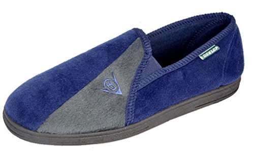 mens-ms418-dunlop-winston-ii-plush-velour-slippers-with-cushioned-insock-navy-grey-size-8-uk