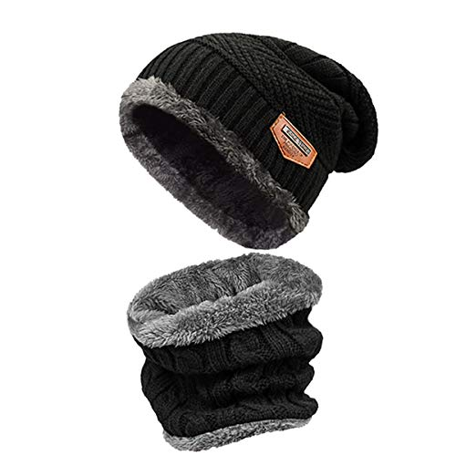 e94962649b heekpek Berretto Uomo in Maglia per Inverno Caldo Cappello Beanie con  Sciarpa Berretto Uomo Beanie Cappelli