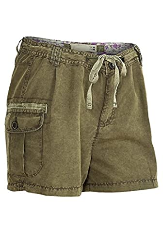 Ladies Khaki Summer Shorts Womens Olive Camo Combat Hot Pants Trousers (10)