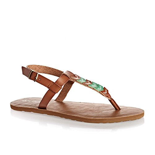 Volcom Women's Trail 6 Chevron T-Strap Synthetic Leather Fashion Flat Sandal