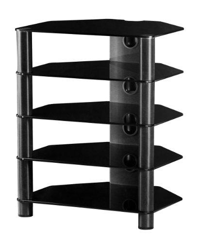 SONOROUS - RX 2150 NOIR Meuble Hi-Fi 5 étagères. Verre noir. Profilés aluminium noir.