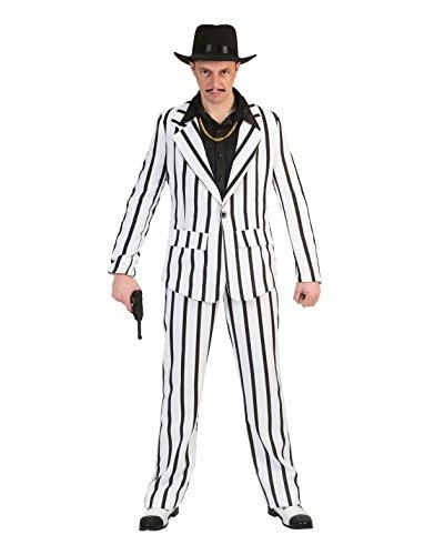 Kostüm schwarz weiß gestreifter Anzug für Erwachsene (Gestreifter Kostüm Anzug)