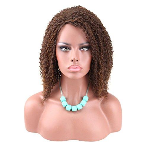 kalyss, lockiges Afro nicht Lace Kunsthaar Braun Haar Perücke für Damen schwarz