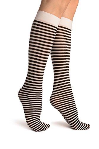 Black & White Thin Stripes Socks Knee High - Weiß Socken Einheitsgroesse (37-42) (Knee High Stripe Socken)