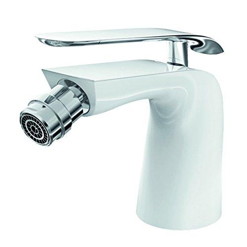 Lux-aqua Design Bidet-Armatur verchromt mit Einbrennlack in weiß ZS46375JW