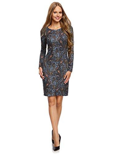 oodji Collection Damen Jersey-Kleid mit Ethno-Druck, Blau, DE 38 / EU 40 / M