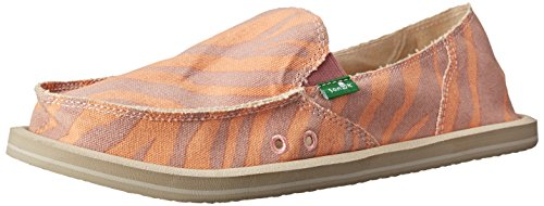 Sanuk Women's I'm Game Sidewalk Surfer Slip-On,Fuchsia Zebra,6 M US Zebra Rose/Peach