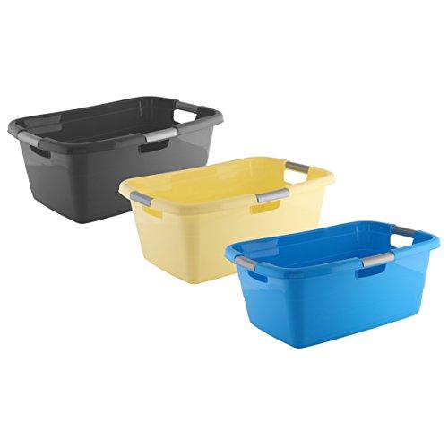 axentia Wäschekorb Ergonomic für Schmutzwäsche, 40l - Kunststoff-Wäschewanne stapelbar - Plastik-Wanne als Wäschesammler & Wäschesortierer