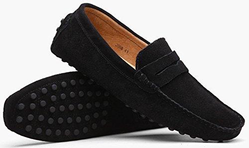 Wealsex Mocassins Homme Suédé Chaussures Casual Homme Noir