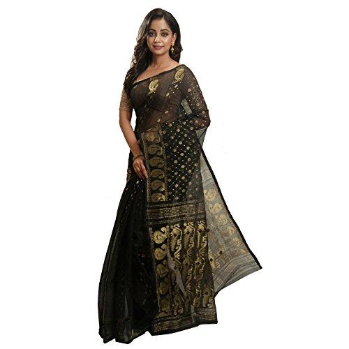Avik Creations Embroidered Dhakai Jamdani Handloom Silk Cotton Sari Black