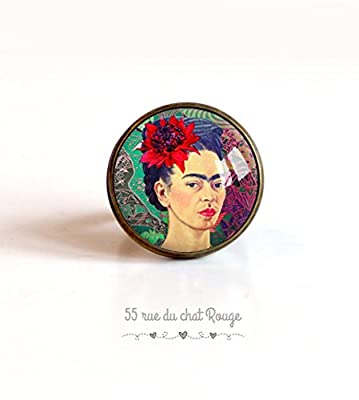 Bague cabochon 20 mm Cabochon Frida Khalo, portrait femme, Mexique, Coloré