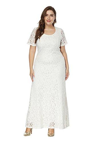 Zhuikun vestiti donna taglie forti abito a maniche corte in pizzo eleganti lunghe abito da sera bianco 7xl