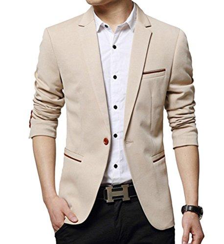 Ghope Neu Herren Slim Fit Stylish Sakko Blazer Freizeit Business Jacke Anzugsjacke Elegant Größe 3XL, Kahki
