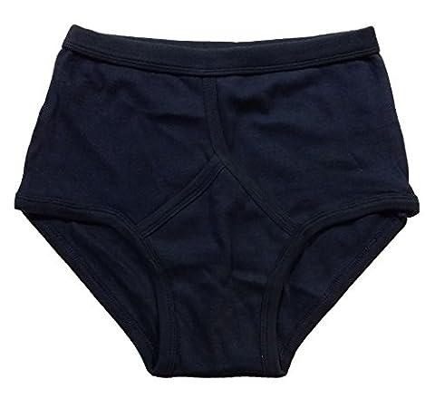 Mens 2 Pack Classic Comfort Plain Cotton Y Front Style Briefs Slips Pants Underwear (Navy) M