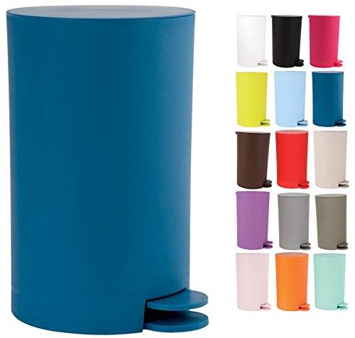 "MSV Kosmetikeimer \""Osaki\"" Mülleimer Treteimer Abfalleimer - 3 Liter – mit herausnehmbaren Inneneimer - Blau"