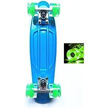 Monopatín Mini Cruiser de Wonnv con luces LED, 57 cm, Blue Deck+LED Green wheel