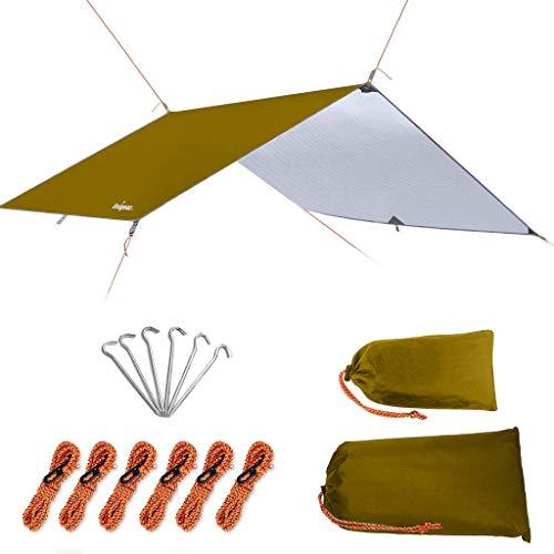 Unigear Zeltplane, Tarp für Hängematte, wasserdicht mit Ösen + 6 Erdnägel+ 6 Seilen, Regenschutz Sonnenschutz für Ourdoor Camping MEHRWEG