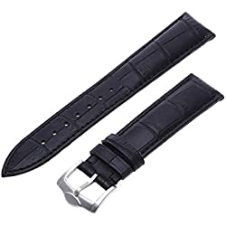 Strap - SODIAL(R)20mm Black Veritable Leather Bracelet with Buckle to Watch
