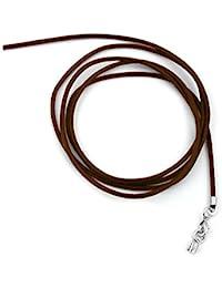 Unbespielt Joyas cordón de piel marrón longitud de la cadena de 100 cm ancho 2,0 mm