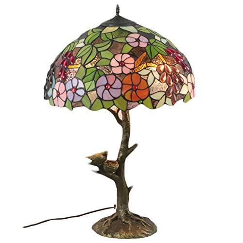 Tiffany Bronze-finish (Tiffany-Stil Tischtisch neben der Lampe Tulpe Blume Design Creme Glaslampe 2 leichte antike Harzbasis Wohnzimmer Einstellungen)