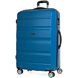 ITACA - T71670 Maleta Trolley 70 cm Grande XL de ABS. Rígida, Resistente, Robusta y Ligera. Gran Capacidad. Mango Telescópico, 2 Asas. 4 Ruedas Dobles, Color Azul