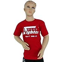 4Fighter Kids Red Camiseta en Rojo con Blanco del Logotipo de impresión de Color único