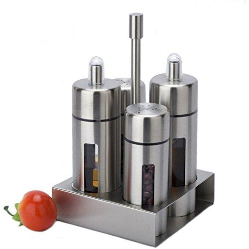 Scaffale da cucina in acciaio INOX, set da 4, barattolo per spezie shaker condimento contenitori