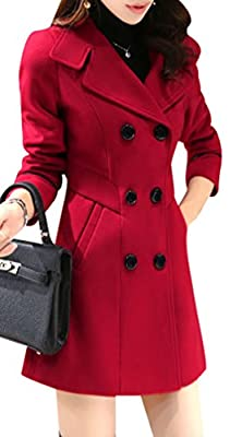 Yasong Women's Girl's Double Breasted Faux Wool Coat Trench Jacket Peacoat