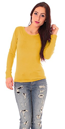 Damen Jersey Langarm Basic T-Shirt mit Rundhals lang Ausschnitt rund Top dünnes Shirt einfarbig uni 1/1 Arm langärmlig Gr 38 / M - gelb Maisgelb