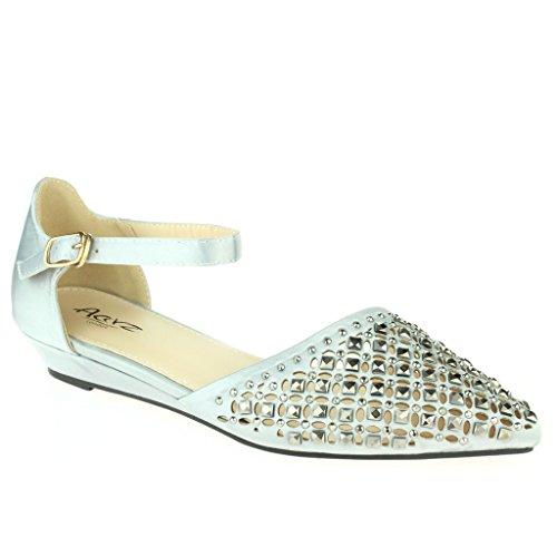 Femmes Dames Cristal Diamante Soir Mariage Fête Bal de promo De mariée Ballet Sandales plates Chaussures Taille Argent