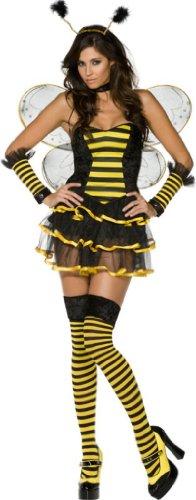 Damen Sexy Biene Kostüm - Smiffy's - Sexy Bienen-Kostüm für