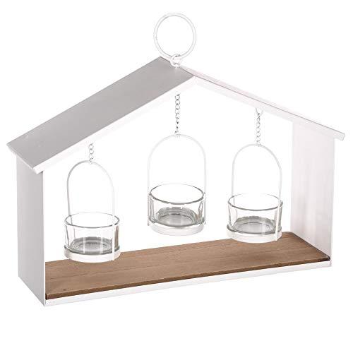Windlicht Haus zum Aufhängen - weiß