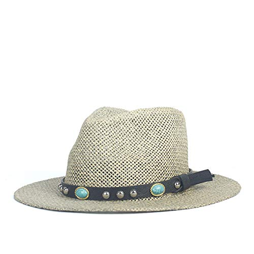 zlhcich Sombreros de Vaquero para Hombres Sombreros de Vaquero para Hombres Gorro naStraw Panama Sun para Dama Elegante Borde Ancho Floppy Seaside Sunbonnet Beach Cap Rayas a Rayas