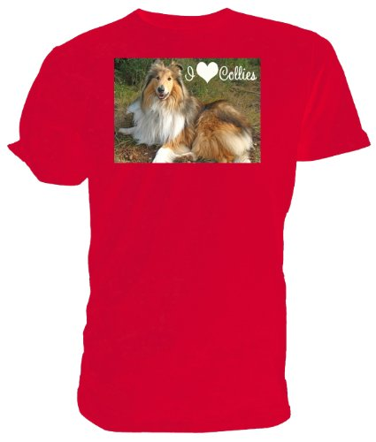 Maglietta, motivo: Cane Border Collie, I love Collies Rosa (rosa)