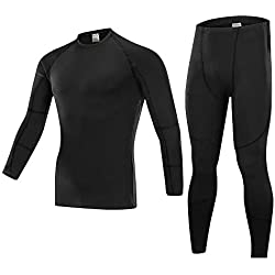 SKYSPER Thermal Compression T-shirt for Men Long Sleeve Long Pants Thermal Underwear Sports Suit Leggings Winter Autumn for Running, Skiing, Mountain, Cycling, Fitness
