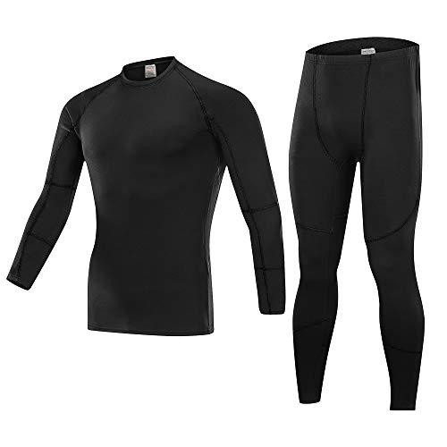 Skysper set biancheria intima termica, maglia termica + pantaloni termici alta elasticità e alta traspirabilità leggings inverno autunno per corsa sci palestra ciclismo fitness nero