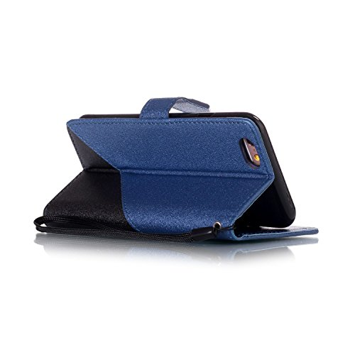 iPhone 6S Ledertasche,iPhone 6 Lanyard Brieftasche,JAWSEU Retro Kreative Matte fühlen Doppelte Farbe Muster Strap PU Leder+TPU Innere Handyhülle Flip Bookstyle Premium Schutzhülle Wallet Case Etui Led Schwarz+Blau