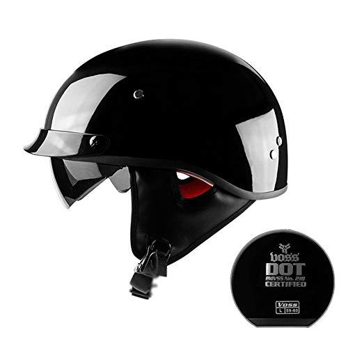 HXZM Motorrad-Harley-Halbhelm/D.O.T-Standard, Motorrad-Jethelm und Vier-Jahreszeiten-Sonnenblende Cruiser für Männer und Frauen - Straßenritter - Schwarz (57 cm - 62 cm),M