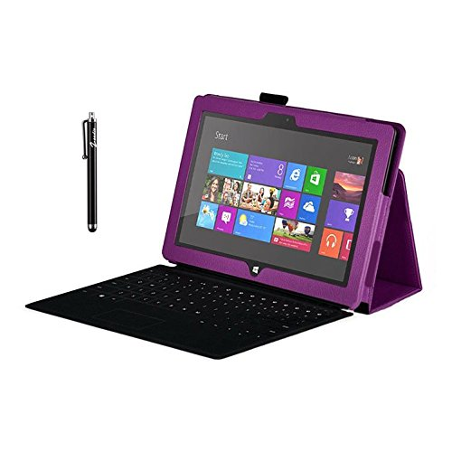 Zeadio® Leder Tasche Hülle Schutzhülle Etui Case Cover mit Ständer für Microsoft Surface RT Tablet - Lila