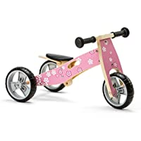 Nicko Mini 2 in 1 Wooden Balance Bike Toddler Trike Tricycle Flower NIC812
