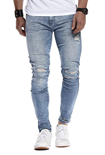 LEIF NELSON Herren Hose Jeans Stretch Jeanshose Chino Cargo Hose Jogger Freizeithose Denim Slim Fit LN9145BL; W34L32, Hell Blau
