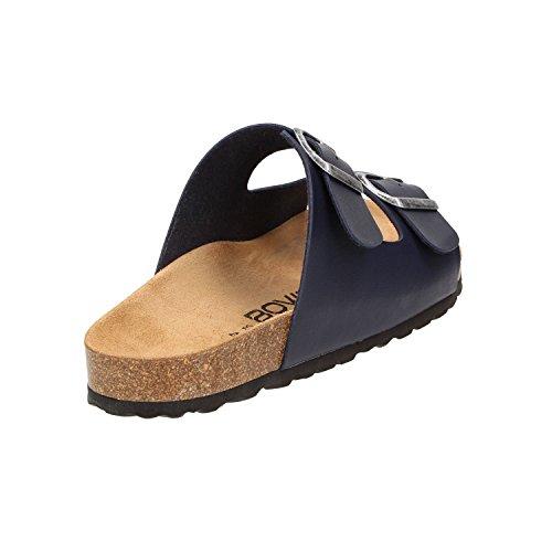BOWS® Schuhe -ERNIE- Herren Sandale Hausschuhe Clogs Pantoletten Pantoffeln Zweier-Riemen Leder-Fußbett Blau