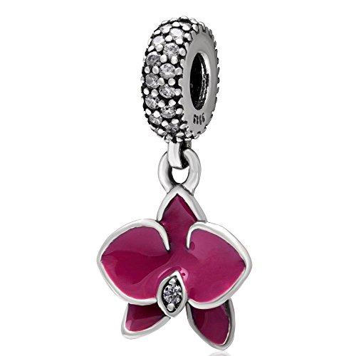 Orchidea in argento sterling 925con ciondolo a forma di fiore anniversary charm christmas charm a forma di cuore per bracciale pandora fuschia